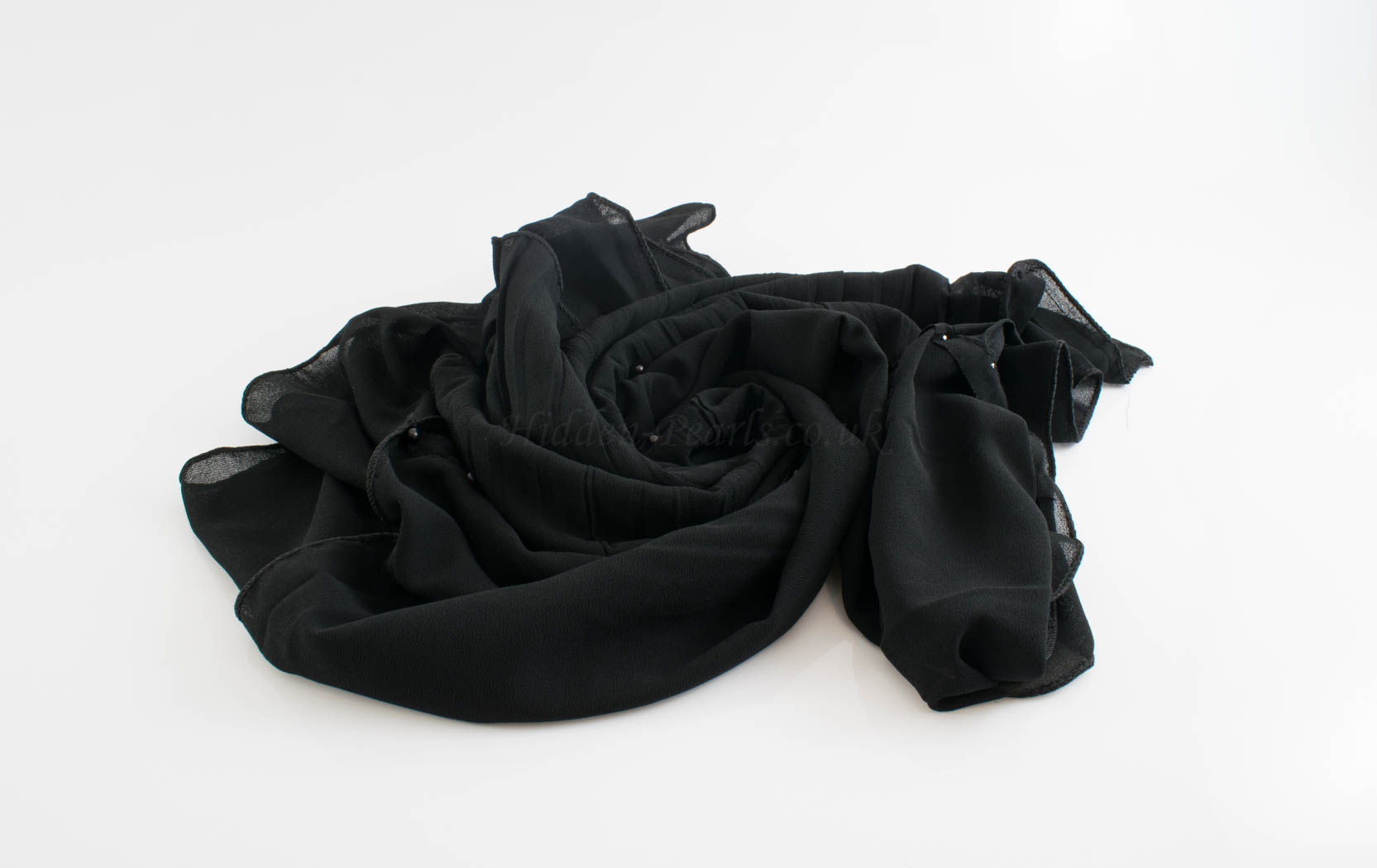One Side Pleated Chiffon Hijab - Hidden Pearls - Black