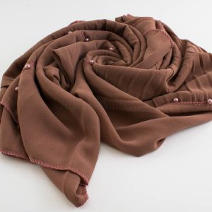 One Side Pleated Chiffon Hijab - Hidden Pearls - Dusky Rose