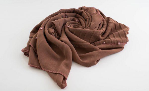 One Side Pleated Chiffon Hijab - Hidden Pearls - Dusky Rose