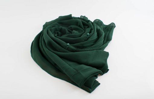 One Side Pleated Chiffon Hijab - Hidden Pearls - Forest 2