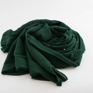 One Side Pleated Chiffon Hijab - Hidden Pearls - Forest Green