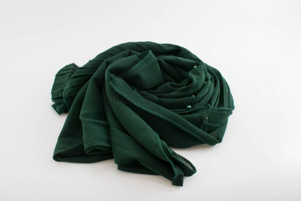 One Side Pleated Chiffon Hijab - Hidden Pearls - Forest Green
