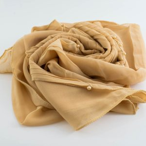 One Side Pleated Chiffon Hijab - Hidden Pearls - Golden Beige