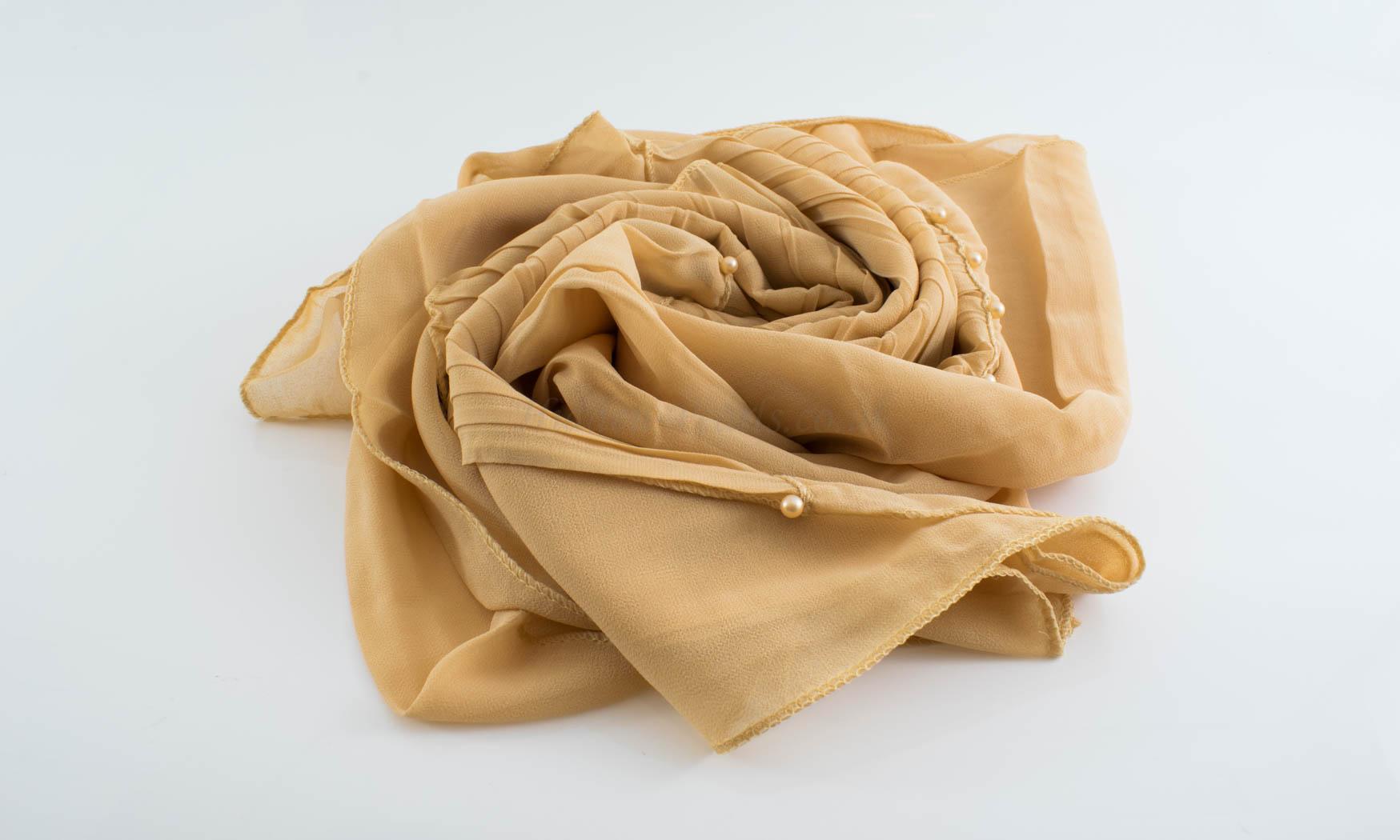 One Side Pleated Chiffon Hijab - Hidden Pearls - Golden Beige