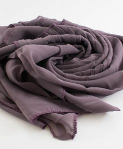 One Side Pleated Chiffon Hijab - Hidden Pearls - Lilac
