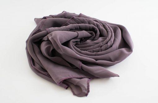 One Side Pleated Chiffon Hijab - Hidden Pearls - Lilac