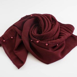 One Side Pleated Chiffon Hijab - Hidden Pearls - Rosewood
