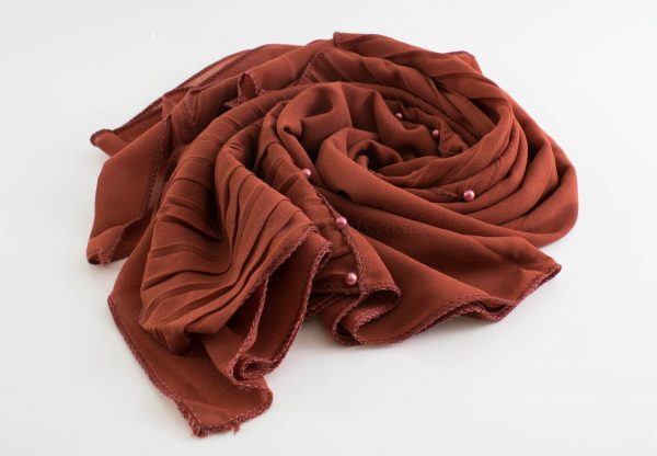 One Side Pleated Chiffon Hijab - Hidden Pearls - Rust