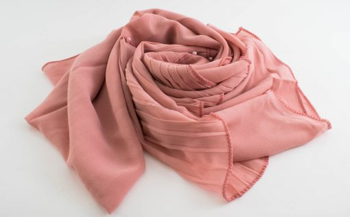 One Side Pleated Chiffon Hijab - Hidden Pearls - Soft Pink