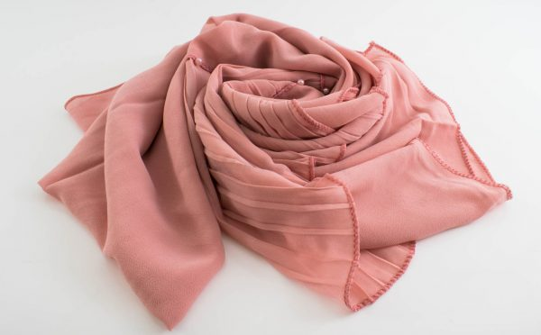 One Side Pleated Chiffon Hijab - Hidden Pearls - Soft Pink