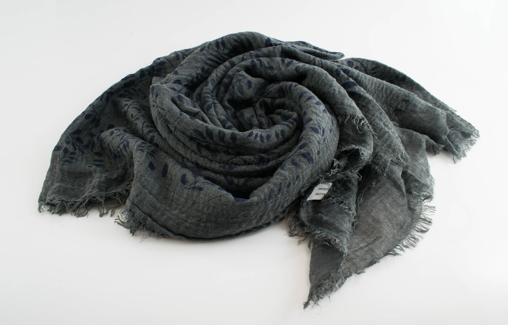 Printed Leaves Hijab - Hidden Pearls -Dark Grey