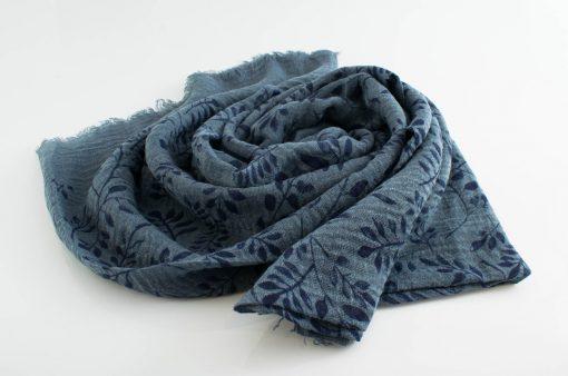 Printed Leaves Hijab - Hidden Pearls -Denim Blue