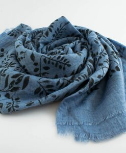 Printed Leaves Hijab - Hidden Pearls - Soft Blue