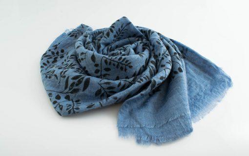 Printed Leaves Hijab - Hidden Pearls - Soft Blue