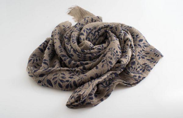 Printed Leaves Hijab - Hidden Pearls - Latte