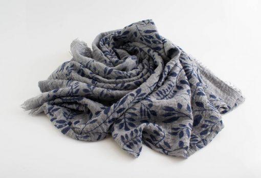 Printed Leaves Hijab - Hidden Pearls - Light Grey