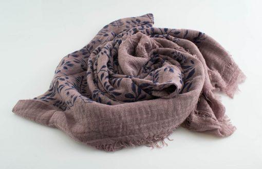 Printed Leaves Hijab - Hidden Pearls - Lavender