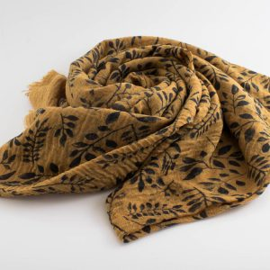 Printed Leaves Hijab - Hidden Pearls - Mustard
