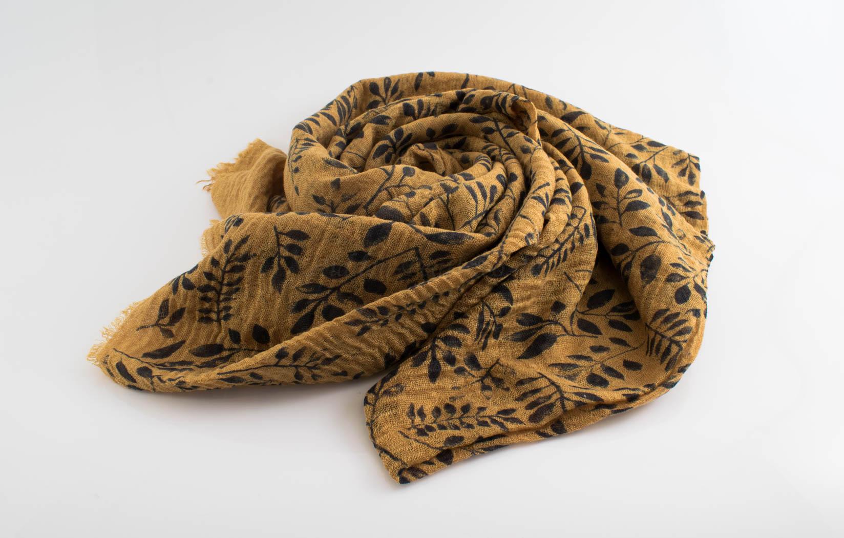 Printed Leaves Hijab - Hidden Pearls - Mustard