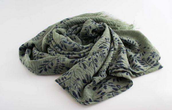 Printed Leaves Hijab - Hidden Pearls - Pistachio