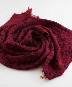 Printed Leaves Hijab - Hidden Pearls - Rosewood