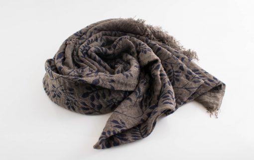 Printed Leaves Hijab - Hidden Pearls -Taupe Grey
