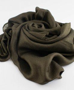 Shimmer SIlk Hijab - Hidden Pearls - Mehndi