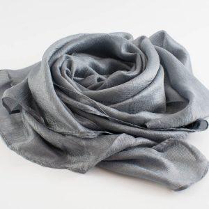 Shimmer SIlk Hijab - Hidden Pearls - Platinum