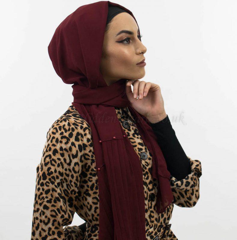 Side Pleat Chiffon Hijab Rosewood