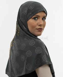 Al-Amira Hijab - Dark Grey 3- Hidden Pearls