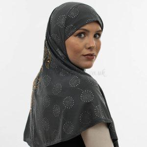Al-Amira Hijab - Dark Grey 3- Hidden Pearls