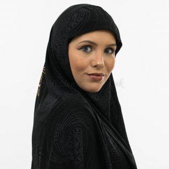 Women's Glitter Al-Amira Hijab - Black- Hidden Pearls