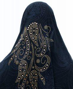 Women's Glitter Al-Amira Hijab - Midnight Blue 2- Hidden Pearls