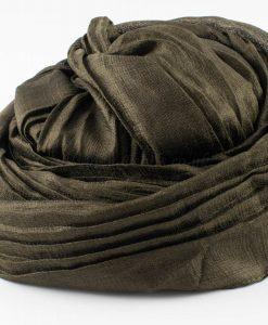 Metallic Pleated Hijab - Mehndi
