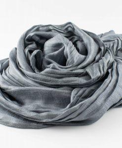 Metallic Pleated Hijab - Pewter 2
