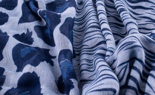 Everyday Mixed Leopard Print Hijab - Denim Blue 2- Hidden Pearls