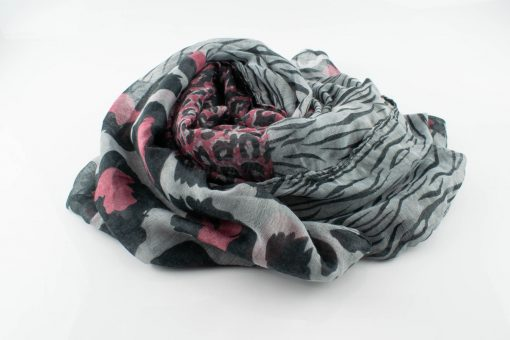 Everyday Mixed Leopard Print Hijab - Light Grey & pink - Hidden Pearls