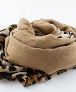 Deluxe Leopard Print Hijab - Camel - Hidden Pearls