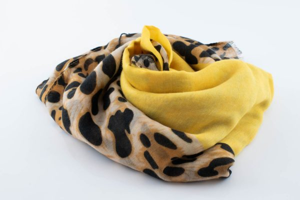 Deluxe Leopard Print Hijab - Canary - Hidden Pearls