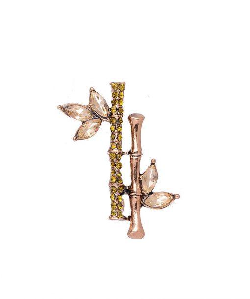 Antique gold diamante bamboo brooch