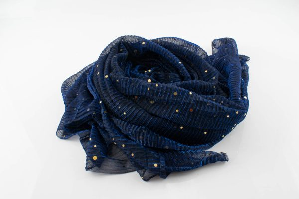 Glitter Crinkle Hijab- midnight blue
