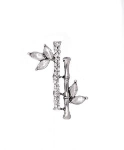 Silver diamante bamboo brooch