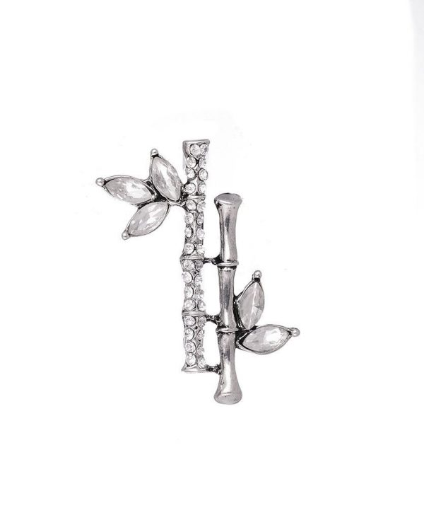 Silver diamante bamboo brooch