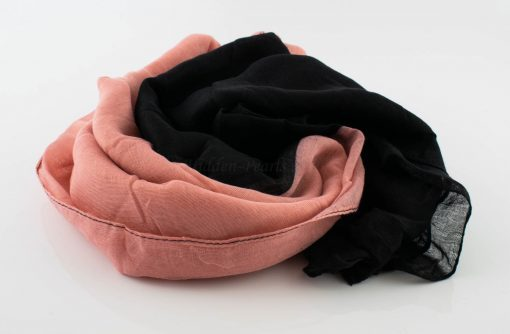 Ombre Hijab - Hidden Pearls - Black & Peach 2