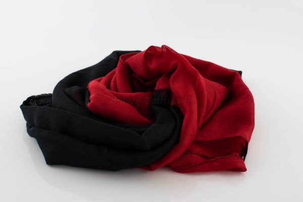 Ombre Hijab - Hidden Pearls - Black & Red