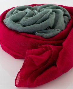 Ombre Hijab - Hidden Pearls - Red & Grey 2