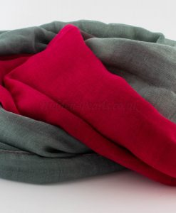 Ombre Hijab - Hidden Pearls -Red & Grey