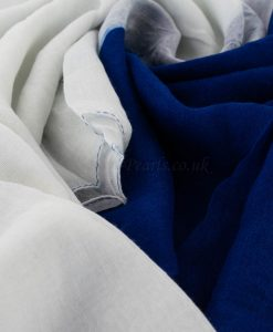 Ombre Hijab - Hidden Pearls - White & Royal Blue
